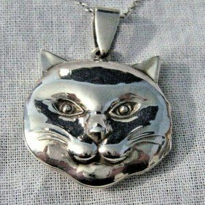 Vintage Sterling Silver Cat Face Locket Necklace